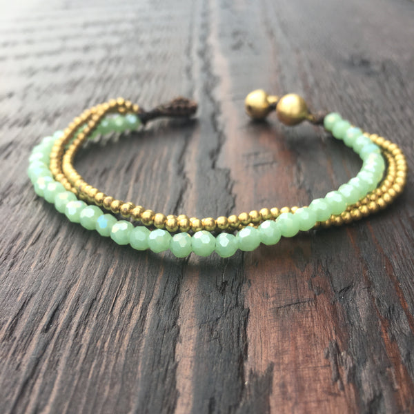 'Brass-Works' Faceted Bead Bracelet (Green)
