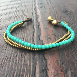 'Brass-Works' Faceted Bead and Brass Bracelet (Green Turquoise)