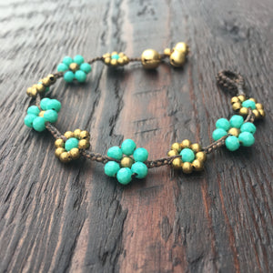 'Brass-Works' Flower Design Bead Bracelet (Green Turquoise)