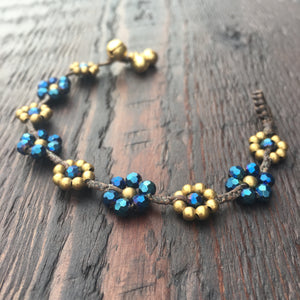 'Brass-Works' Flower Design Bead Bracelet (French Navy)