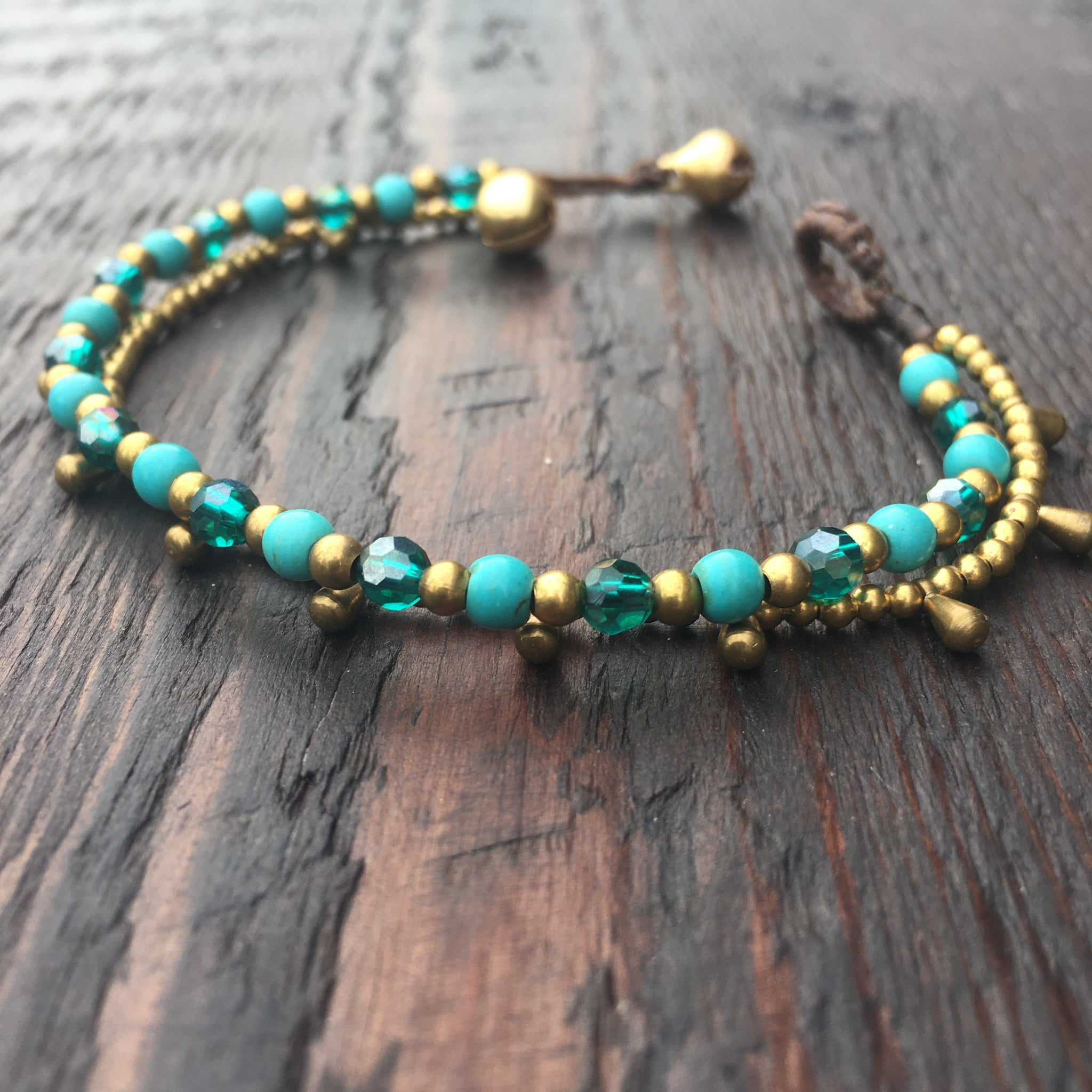 'Brass-Works' Bead Bracelet with Teardrops (Blue Turquoise & Iridescent Blue)