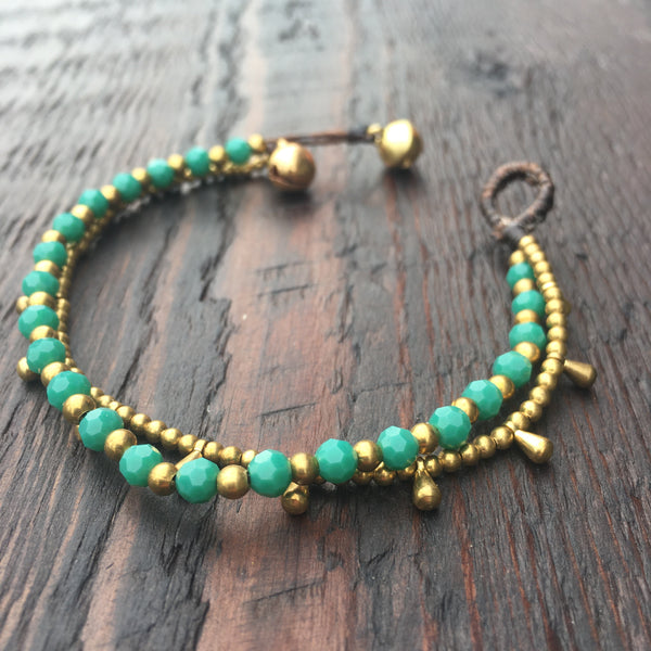 'Brass-Works' Bead Bracelet with Teardrops (Green Turquoise)