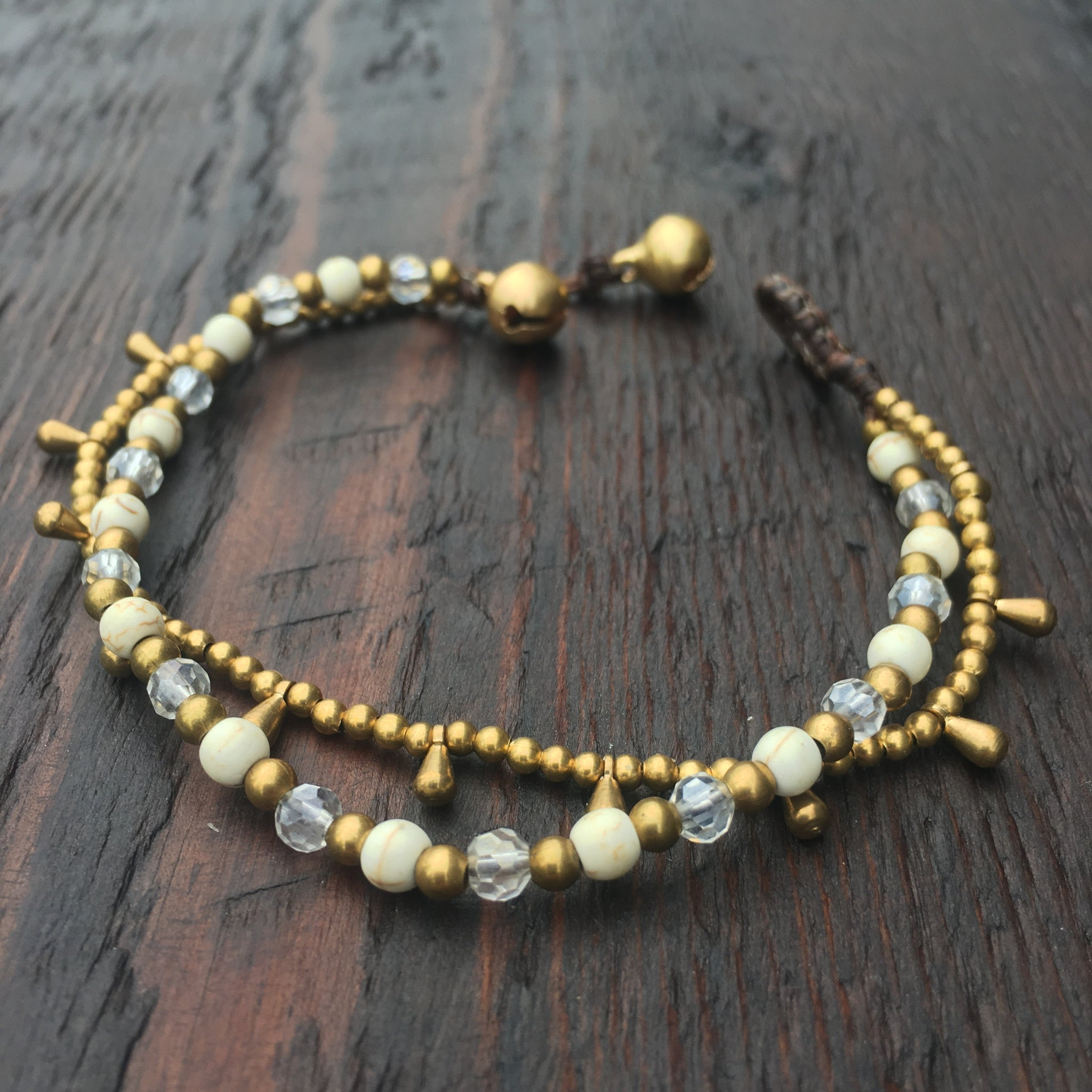 'Brass-Works' Bead Bracelet with Teardrops (Natural & Iridescent White)