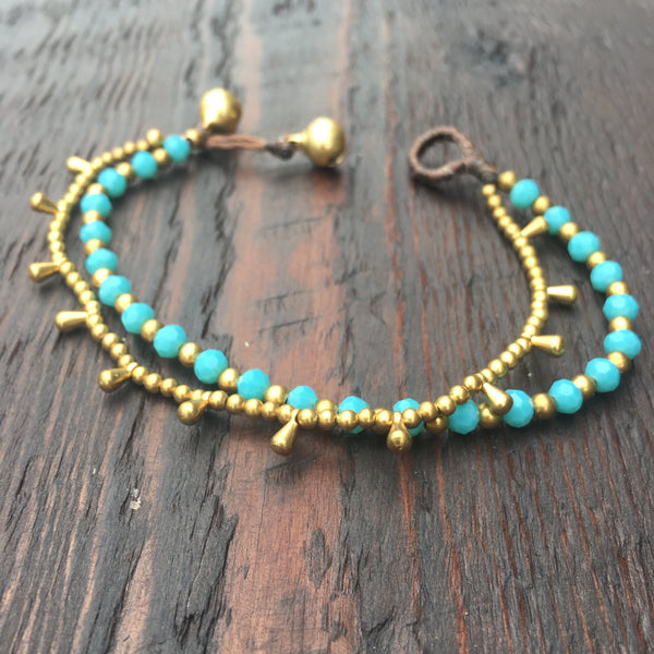 'Brass-Works' Bead Bracelet with Teardrops (Blue Turquoise)