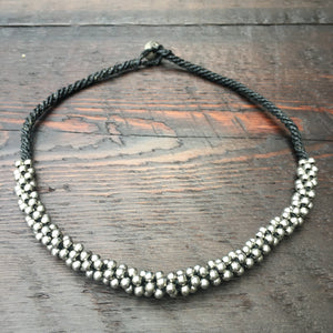 Silver Bead Cluster Necklace