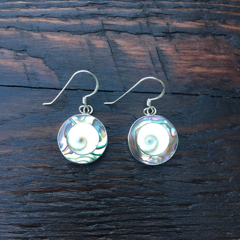 'White Isle' Abalone & Shiva Shell Ocean Sterling Silver Drop Earrings