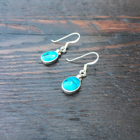 'White Isle' Blue Turquoise Mini Sterling Silver Drop Earrings