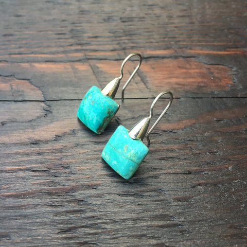 'White Isle' Turquoise Rock 925 Sterling Silver Drop Earrings
