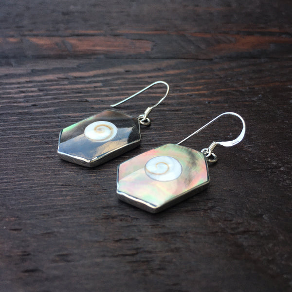 Black Mother of Pearl & Shiva Shell Sterling Silver Drop Earrings