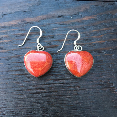 'Vitality' Red Coral Heart Shaped Sterling Silver Drop Earrings