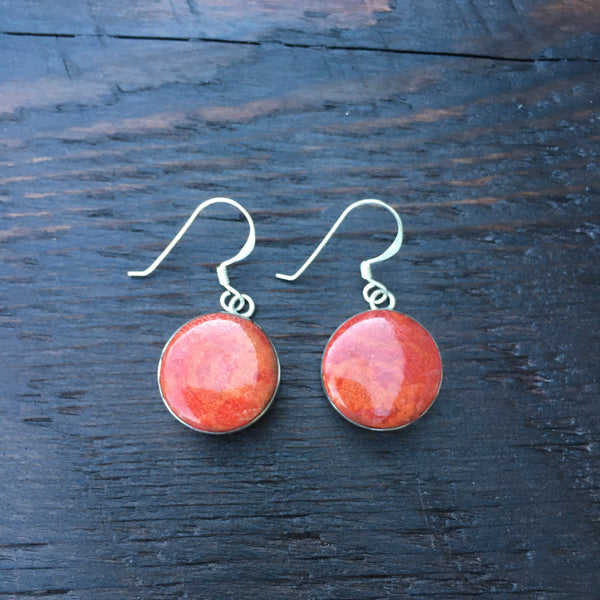 'Vitality' Red Coral Round Sterling Silver Drop Earrings