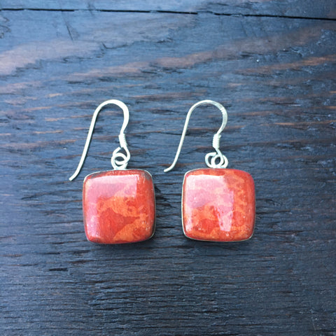 'Vitality' Red Coral Square Shaped Sterling Silver Drop Earrings