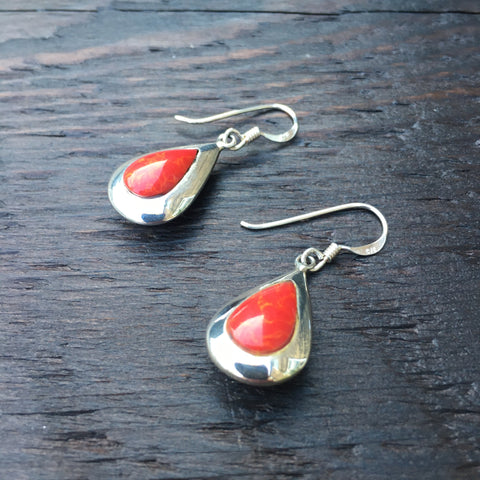 'Vitality' Red Coral Teardrop Sterling Silver Drop Earrings