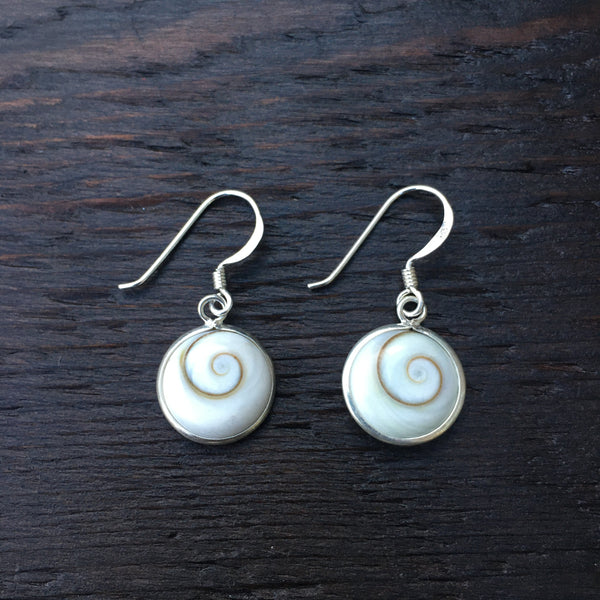 Small Round Shiva Shell & Sterling Silver Drop Earrings