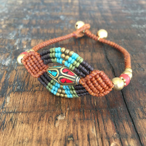 'TriBeca' Woven Bead Design Bracelet (Tan/Black)