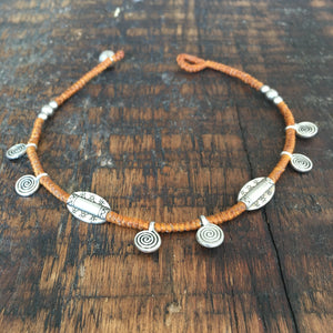 'TriBeca' Silver Charm Anklet (Tan)