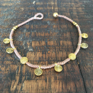 'TriBeca' Bronze Charm Anklet (Nude)