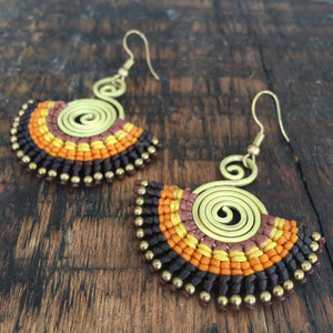 'TriBeca' Embroidered Spiral Earrings (Brown)