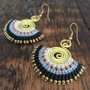 'TriBeca' Embroidered Spiral Earrings (Black)
