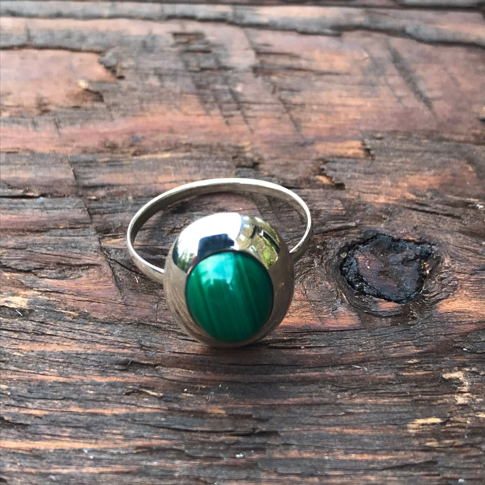 Malachite Oval Design Sterling Silver Ring