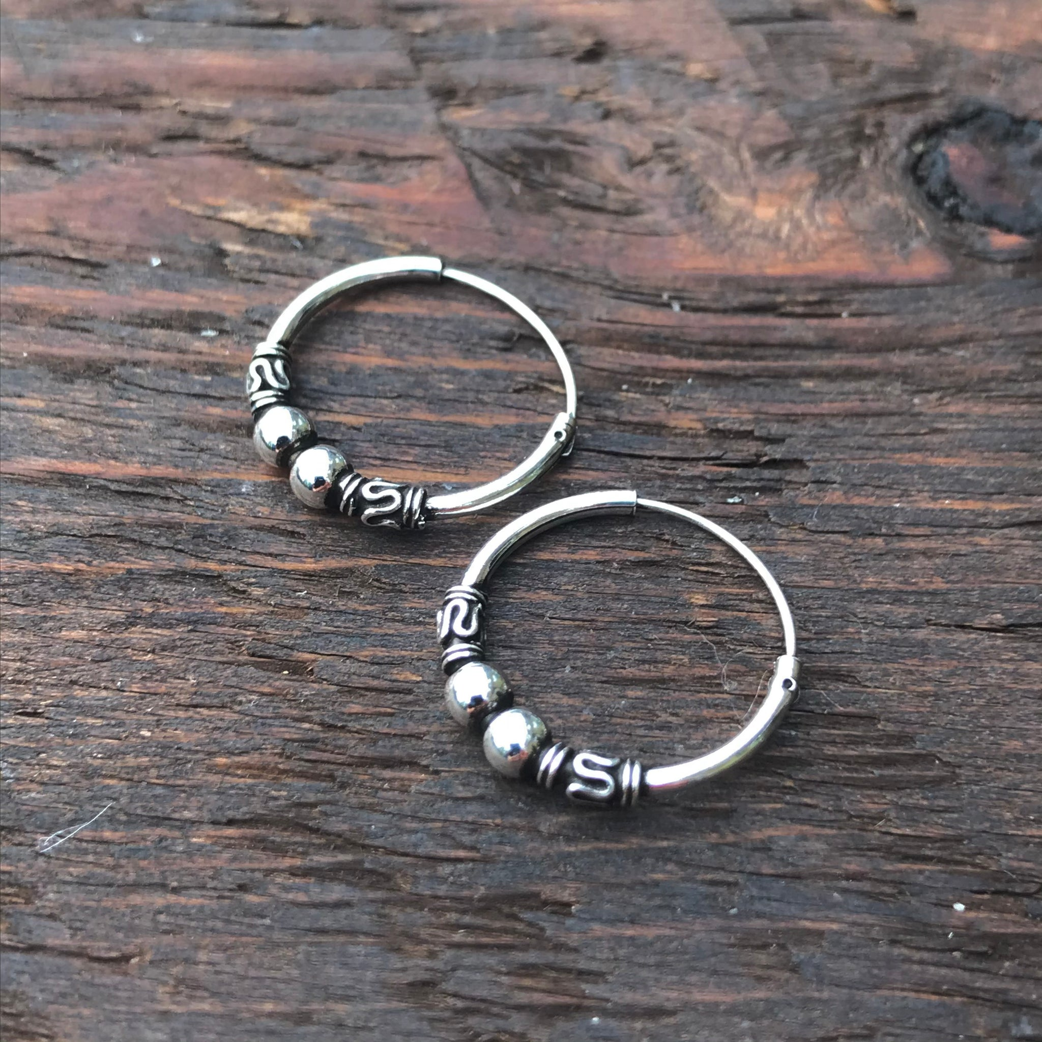 Sterling Silver Balinese Hoop Earrings (Double Silver Ball Design)