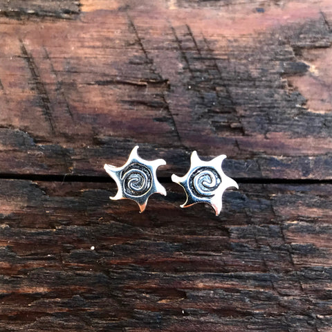 Sterling Silver 'Abstract Sun Spiral' Stud Earrings