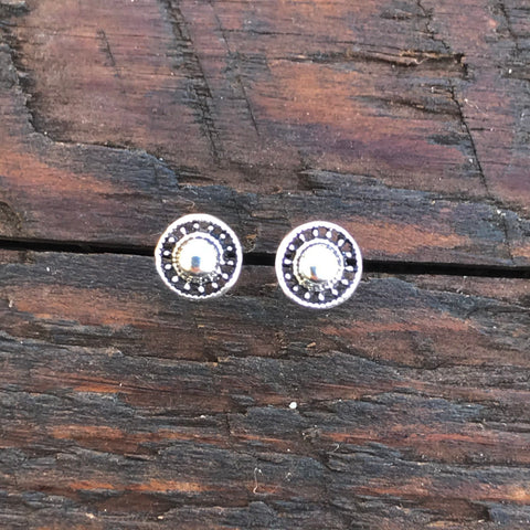 Sterling Silver 'Ethnic Silver Dome' Design Stud Earrings
