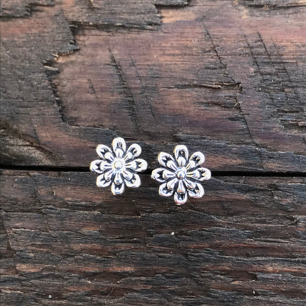Sterling Silver 'Bloom Flower' Design Stud Earrings