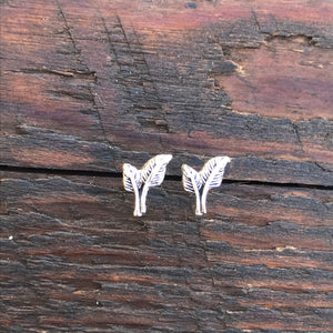 Sterling Silver 'Double Leaf' Design Stud Earrings