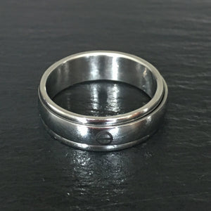 Water Symbol Spinner Band in Polished Finish