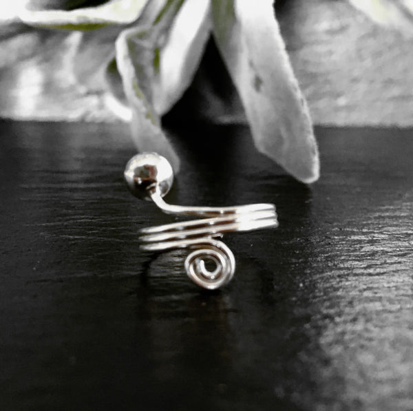 Silver Ball & Spiral Toe Ring - 925 Sterling Silver