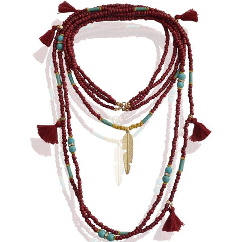 Native Feather Bead Necklace