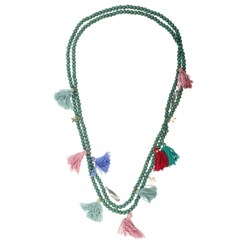 Sai Tassel & Charm Bead Necklace (Green)