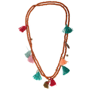 Sai Tassel & Charm Bead Necklace (Tan)