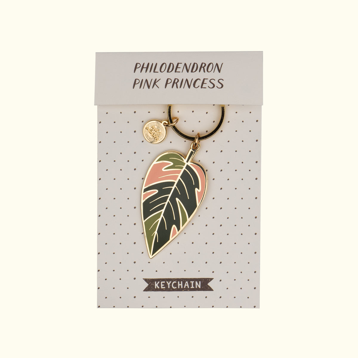 Philodendron Pink Princess Enamel Keychain