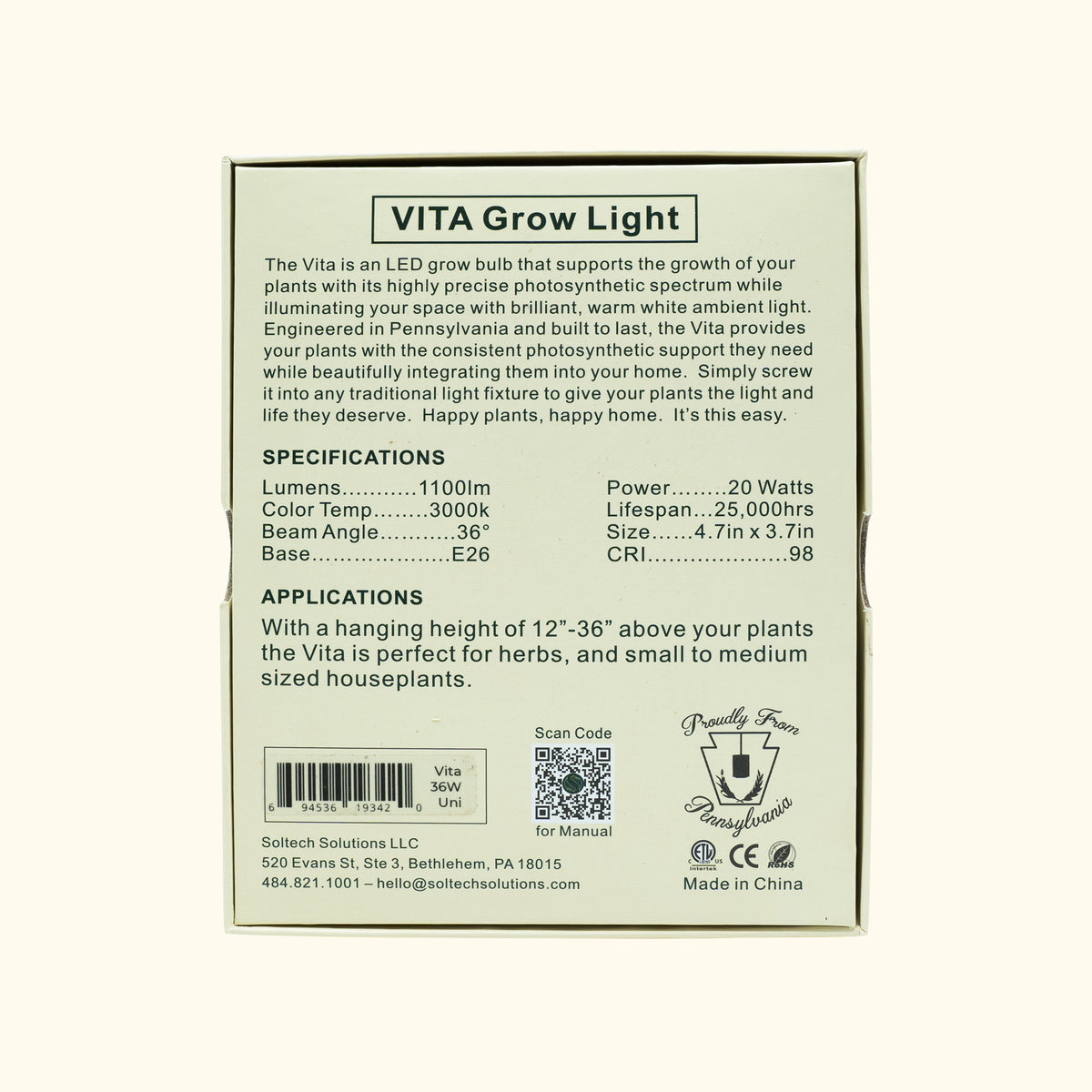 Vita Black Grow Light