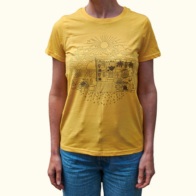 'Fern in the Sun' Plant Runner Womens Tee - Yellow