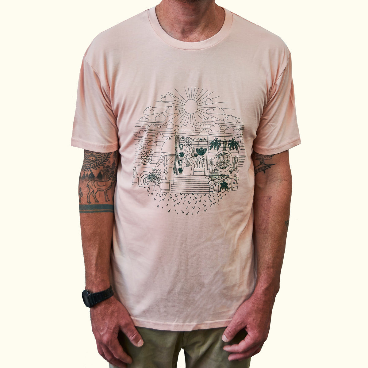 'Fern in the Sun' Plant Runner Mens Tee - Pink