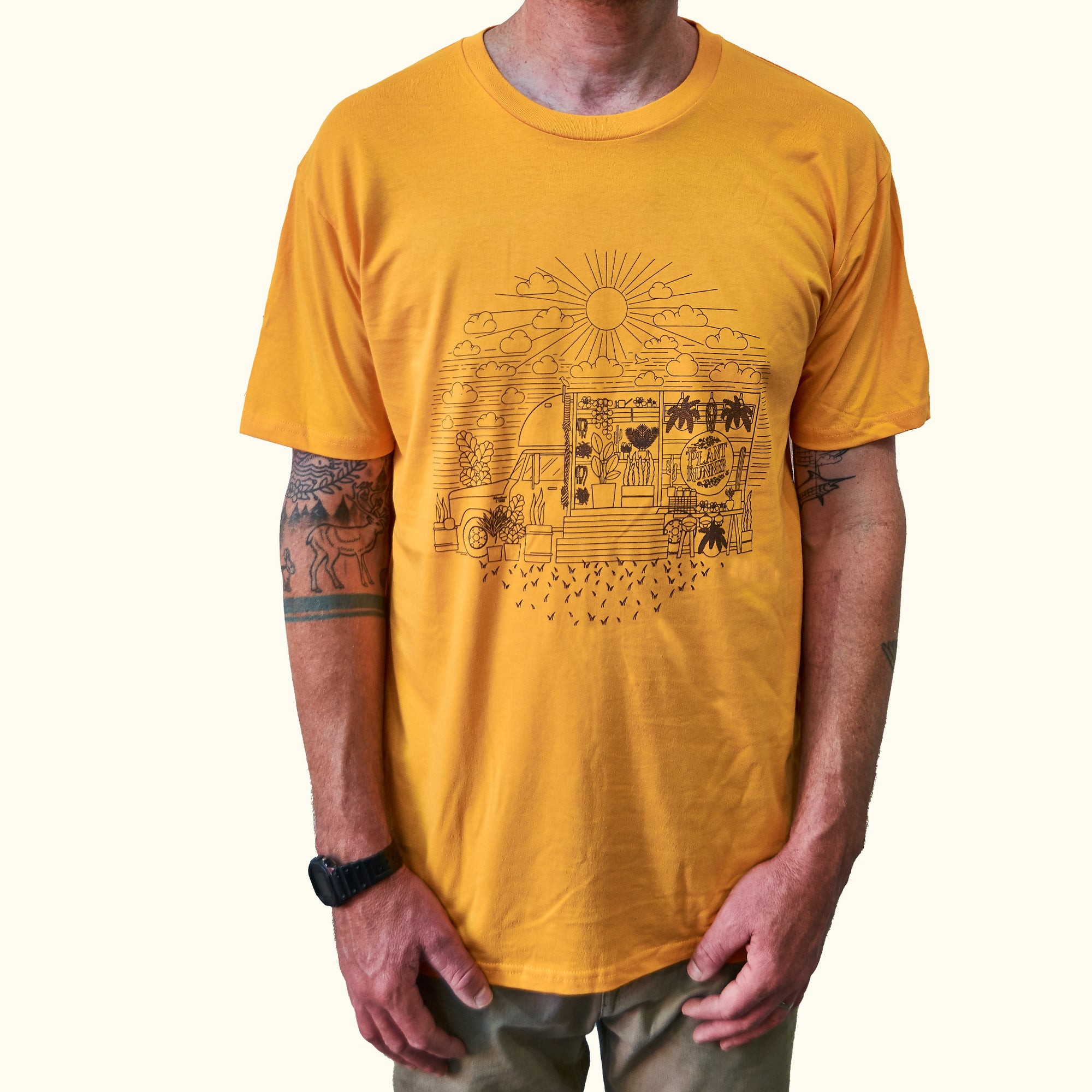 'Fern in the Sun' Plant Runner Mens Tee - Vintage Yellow