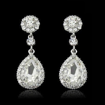 Teardrop crystal bridal earrings