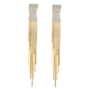 Long crystal gold coloured tassel dangle earrings