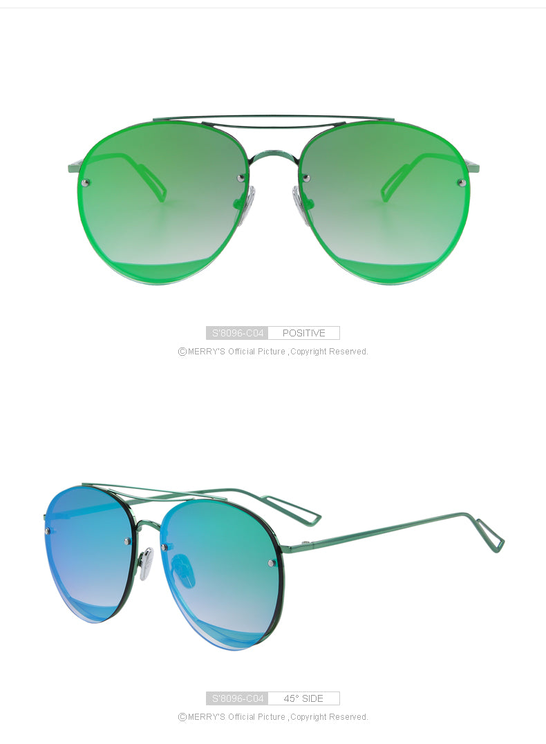 Women's classic brand designer twin beam metal frame sunglasses