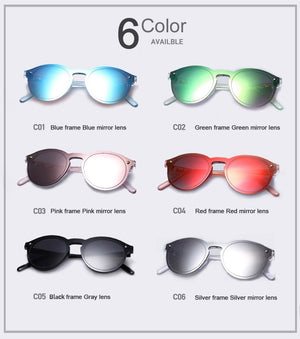women's Candy Colour Reflective Designer Sunglasses