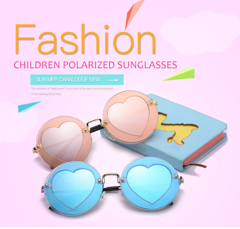 Kids Polarized Round Heart Shaped UV400 Sunglasses