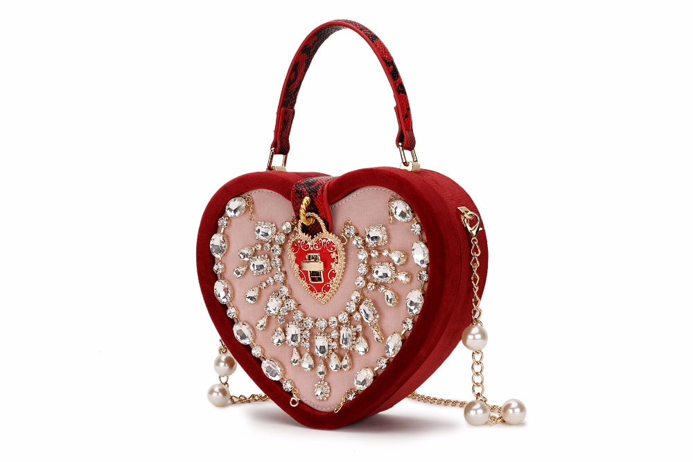 Luxurious Vintage Corduroy Heart Box Style Pearl Chain Women's Bag