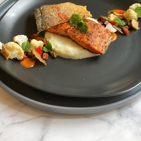 Ocean Trout, Cauliflower, Chorizo and Romesco with Fish Crackling