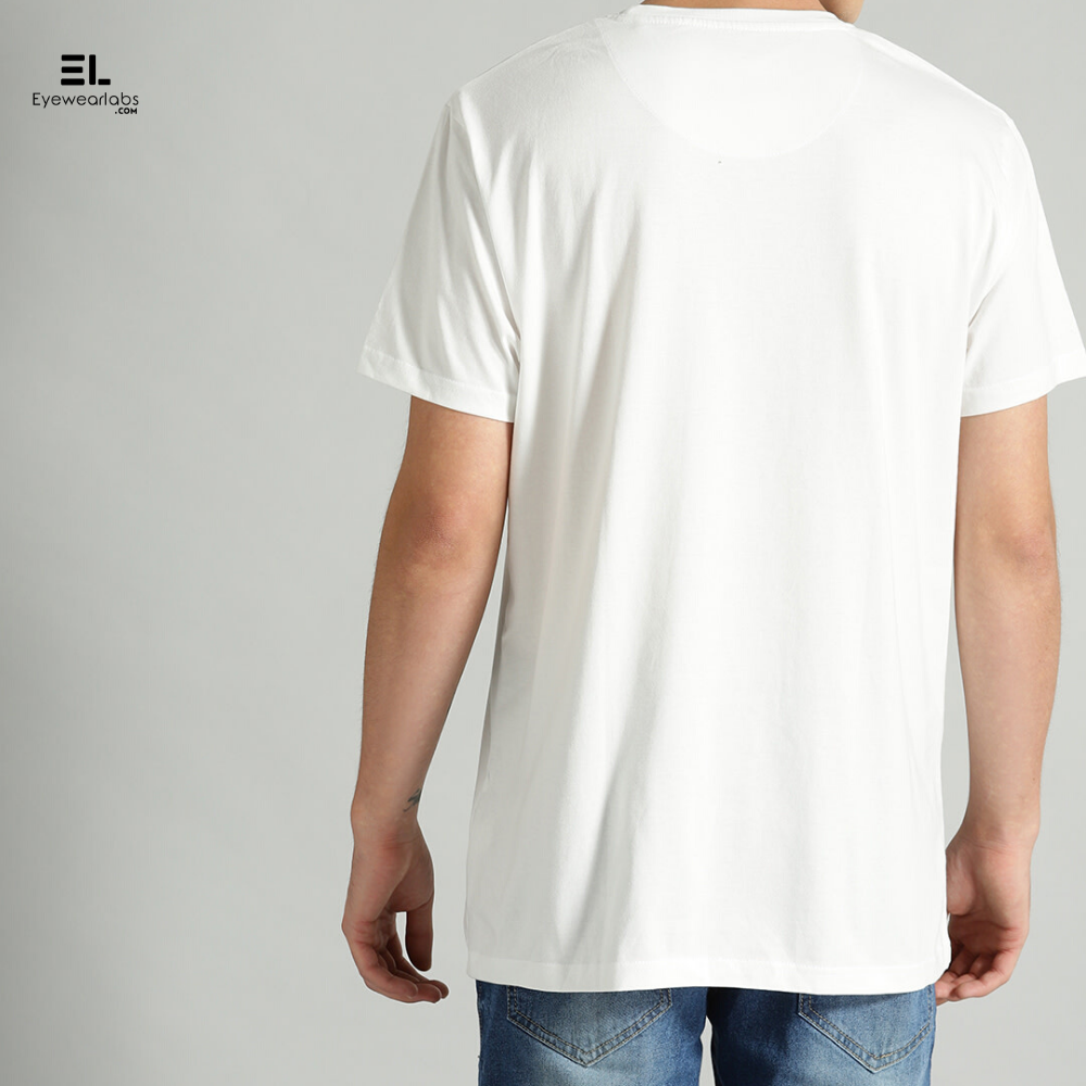 White Round Neck Solid T-Shirt Eyewearlabs - Eyewearlabs