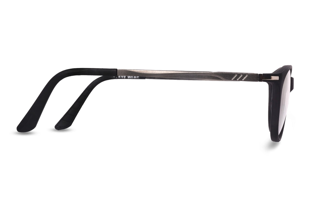 Lithgow-C4 Matte Black Silver Eyewearlabs Blu Block Eyeglasses - Eyewearlabs