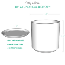 "Modern 3D Printed 10"" BioPot™️ - Large White or Black Planter with Drainage & Saucer - Eco Friendly Plant Pot Set"