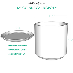 "Modern 3D Printed 12"" BioPot™️ - Extra Large White or Black Planter with Drainage & Saucer - SHIPS FREE"